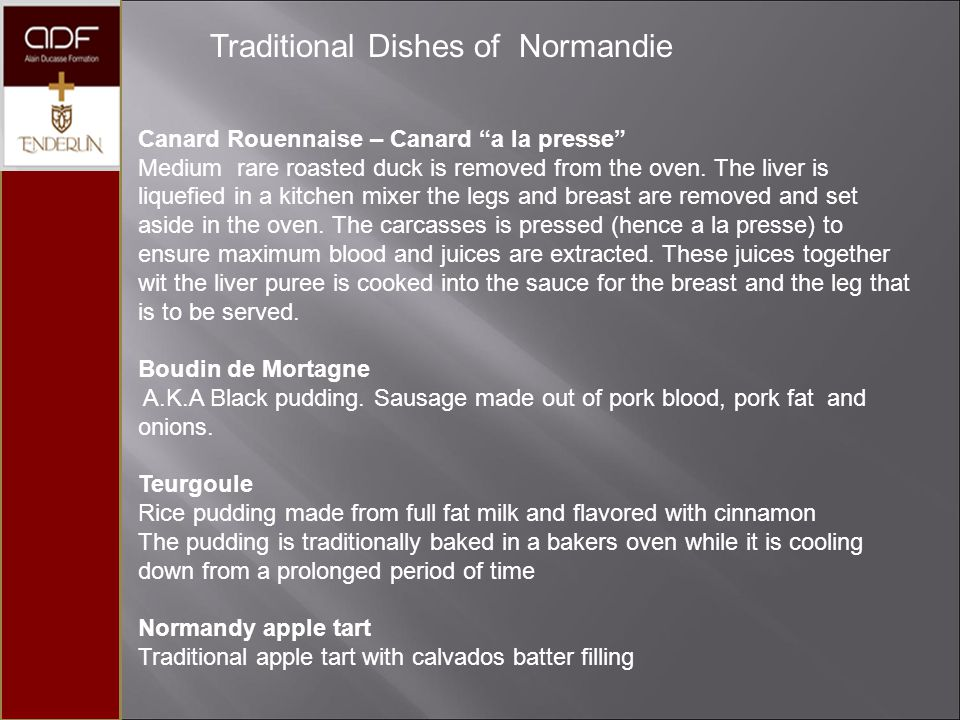 Traditional Dishes of Normandie