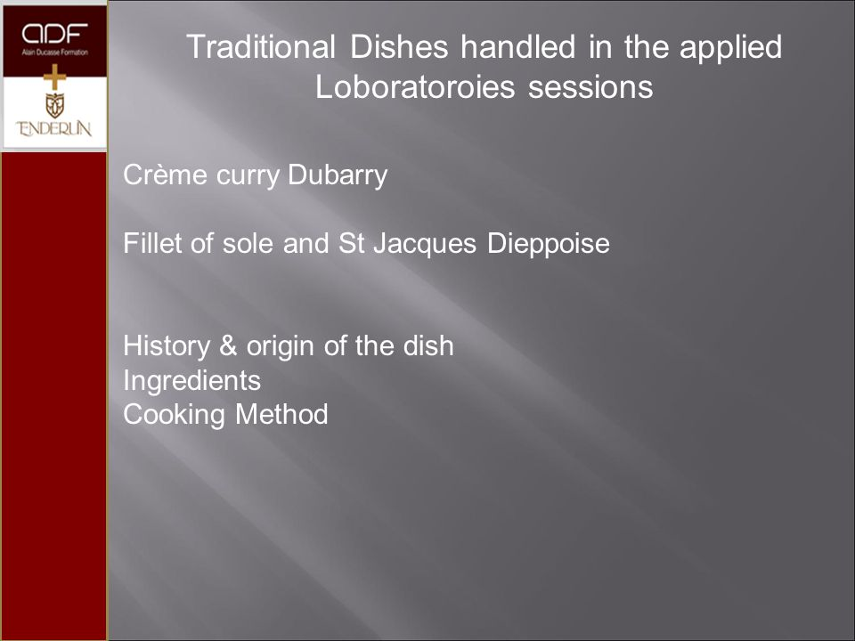 Traditional Dishes handled in the applied Loboratoroies sessions
