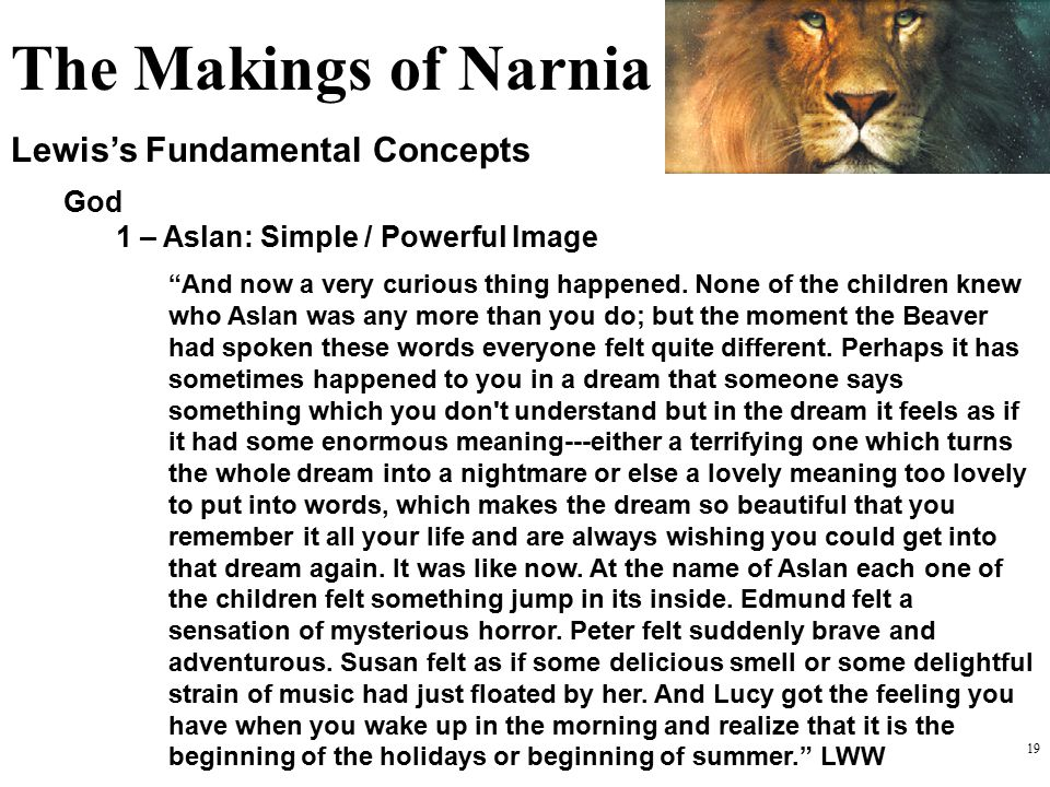 The Makings of Narnia Lewis's Fundamental Concepts God