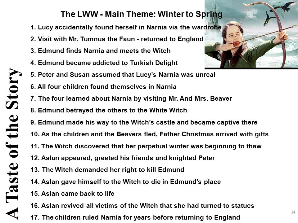 A Taste of the Story The LWW - Main Theme: Winter to Spring