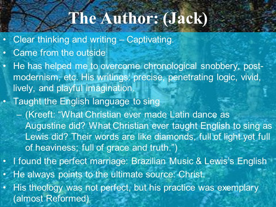 The Author: (Jack) Clear thinking and writing – Captivating.