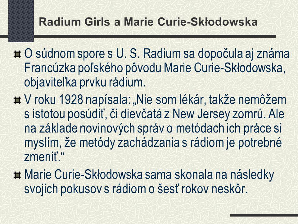 Radium Girls a Marie Curie-Skłodowska