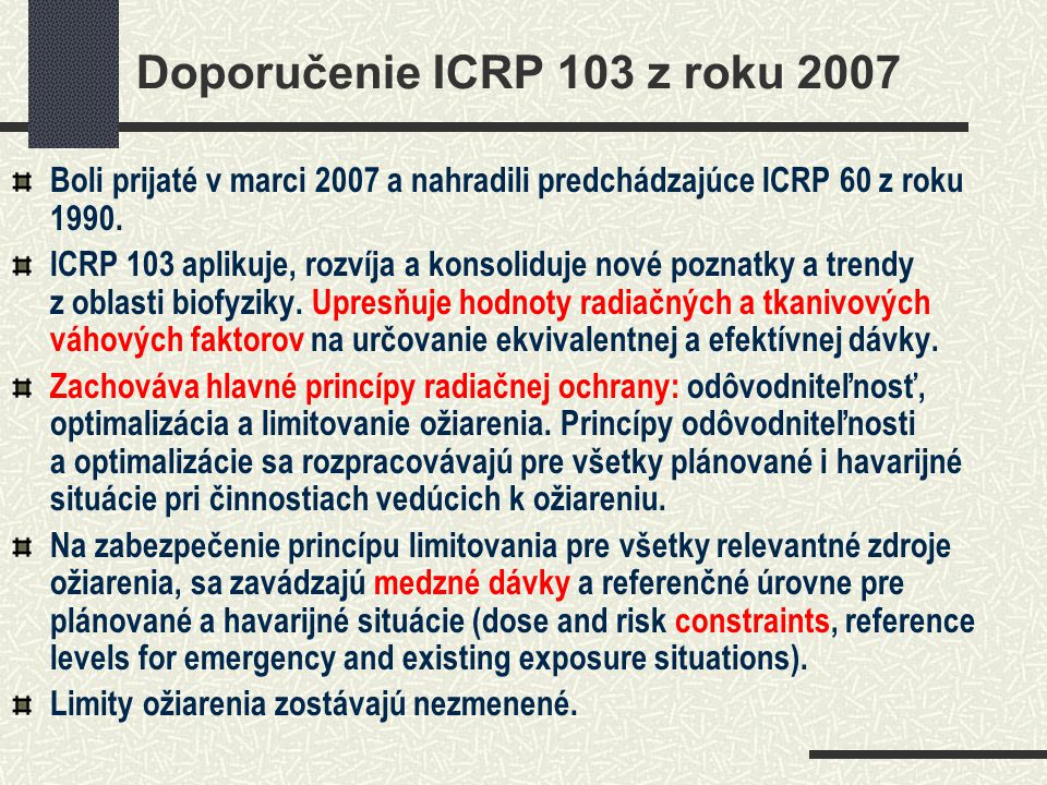 Doporučenie ICRP 103 z roku 2007