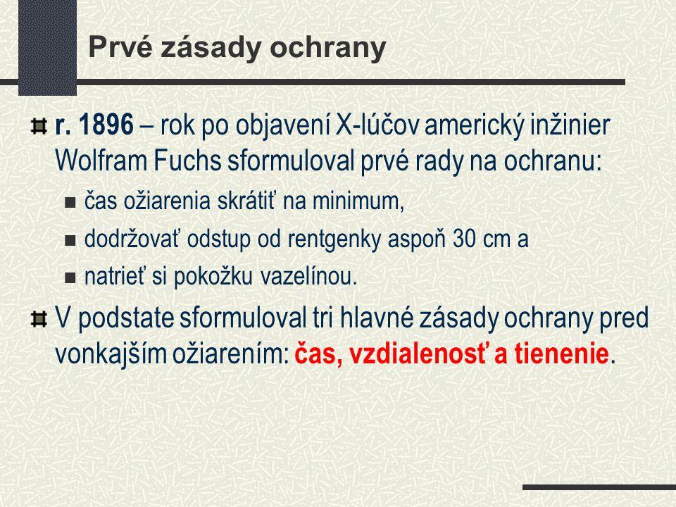 Prvé zásady ochrany r. 1896 – rok po objavení X-lúčov americký inžinier Wolfram Fuchs sformuloval prvé rady na ochranu: