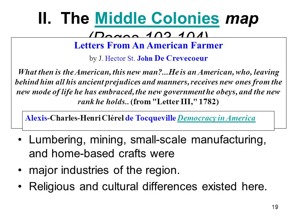 II. The Middle Colonies map (Pages 103-104)