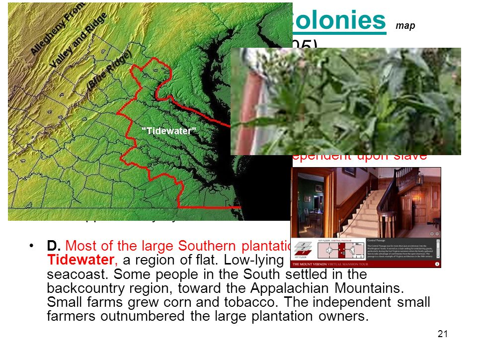 III. The Southern Colonies map (Pages 104-105)
