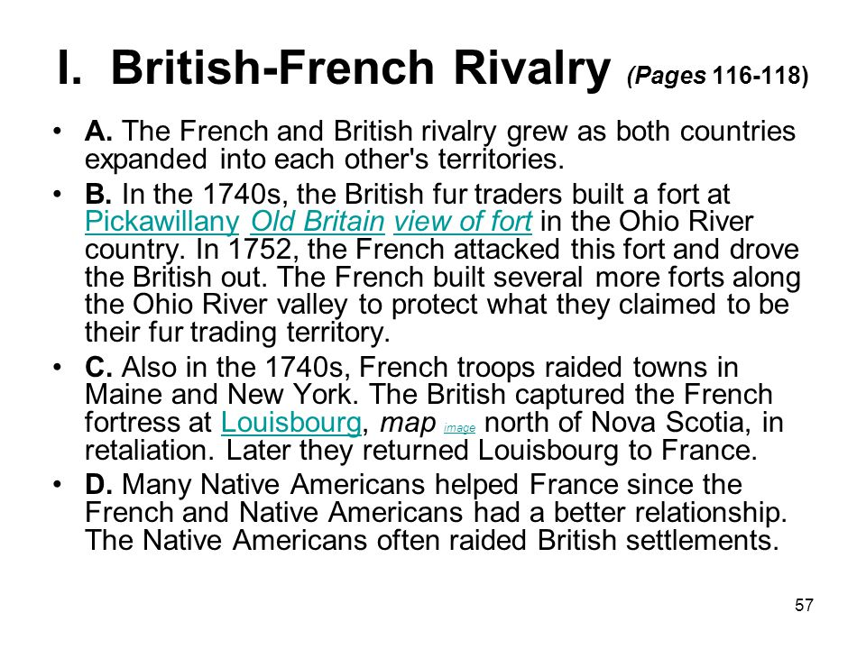 I. British-French Rivalry (Pages 116-118)