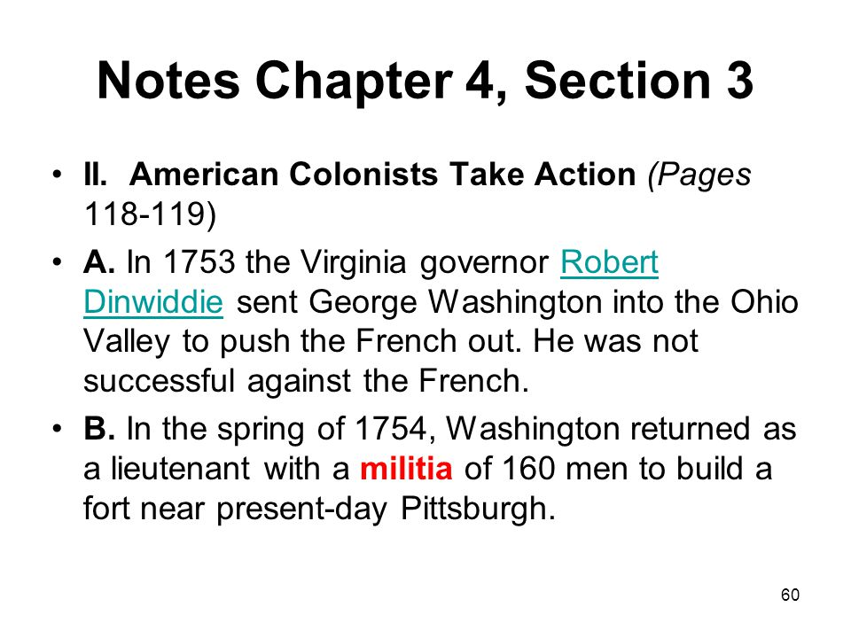 Notes Chapter 4, Section 3 II. American Colonists Take Action (Pages 118-119)