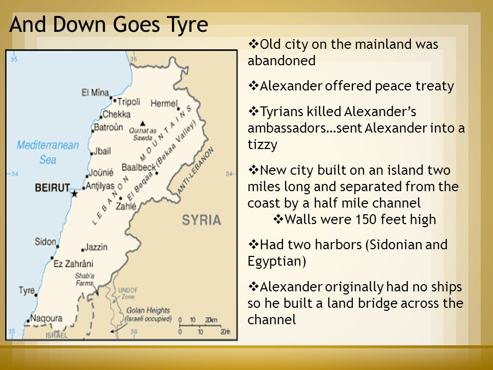 And Down Goes Tyre Old city on the mainland was abandoned