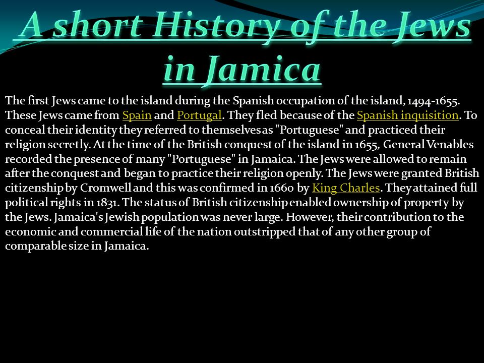 A short History of the Jews in Jamica
