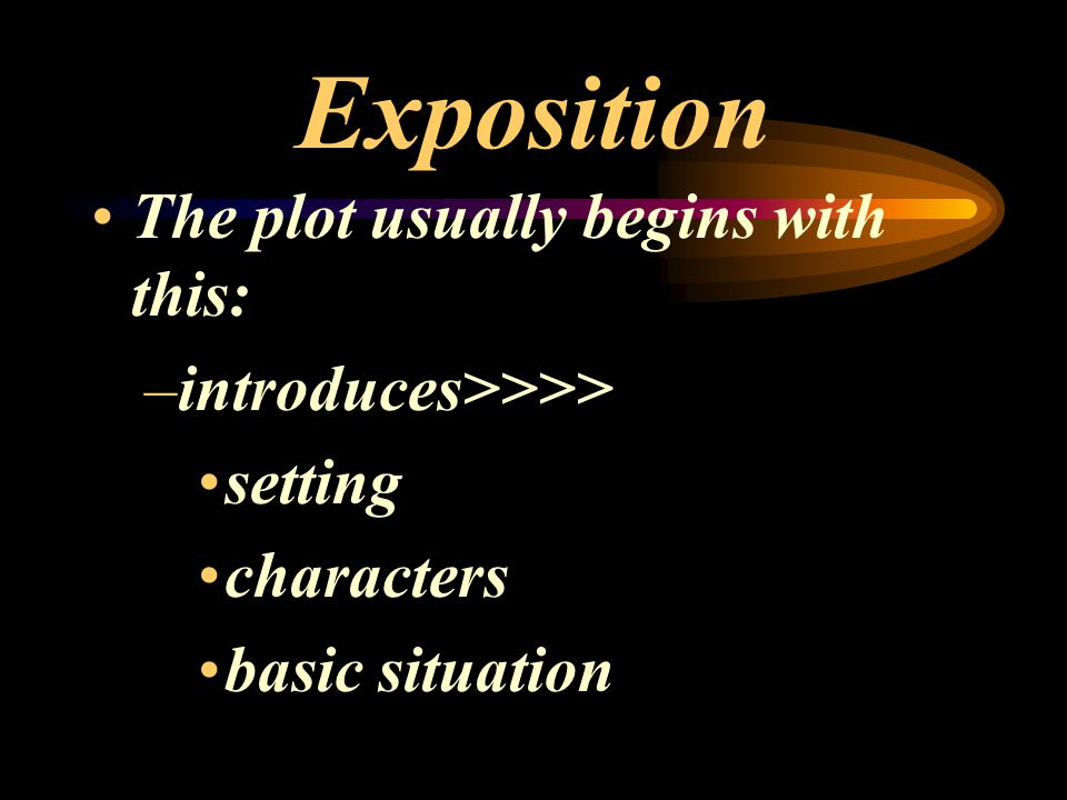 Exposition The plot usually begins with this: