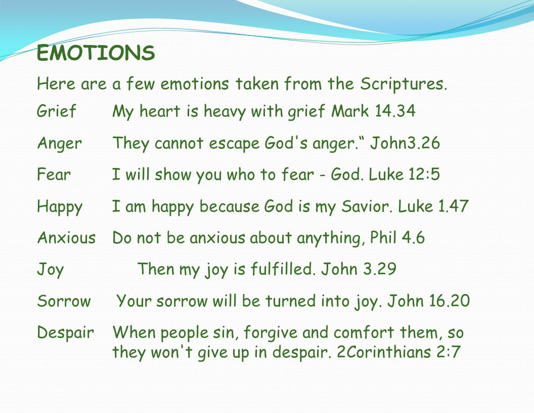EMOTIONS Here are a few emotions taken from the Scriptures.
