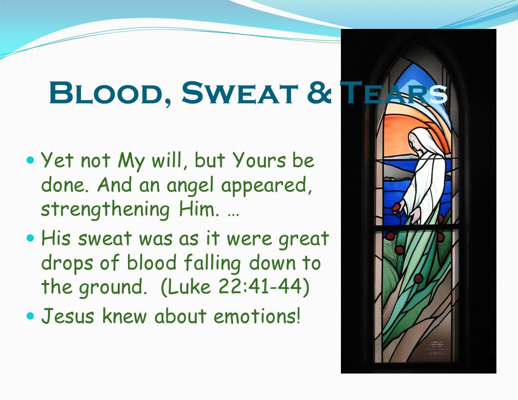 Blood, Sweat & Tears Yet not My will, but Yours be done. And an angel appeared, strengthening Him. …