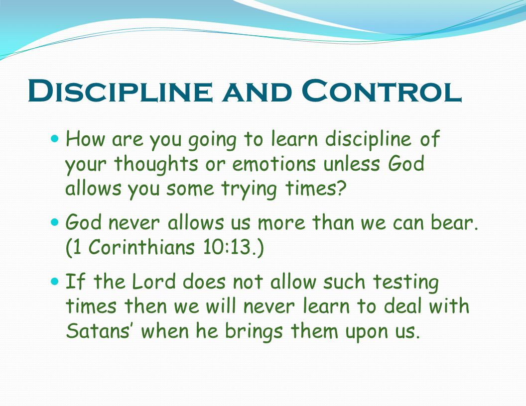 Discipline and Control