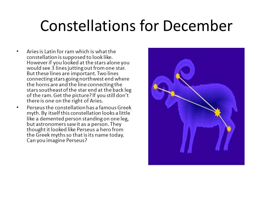 Constellations for December