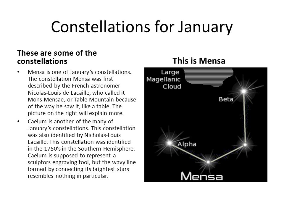 Constellations for January