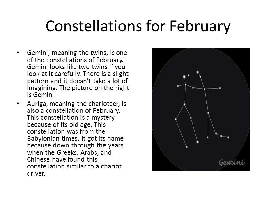 Constellations for February