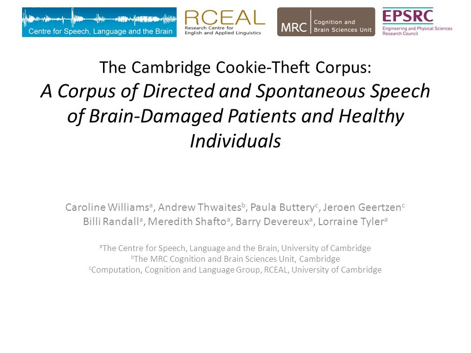 The Cambridge Cookie-Theft Corpus: A Corpus of Directed and Spontaneous Speech of Brain-Damaged Patients and Healthy Individuals