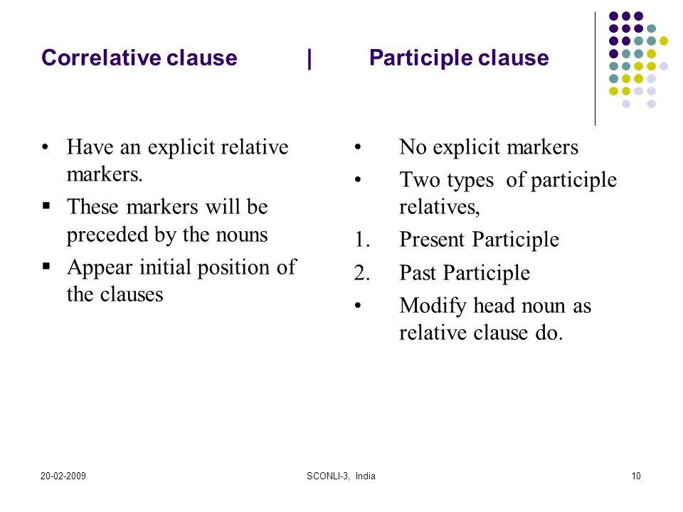 Correlative clause   Participle clause