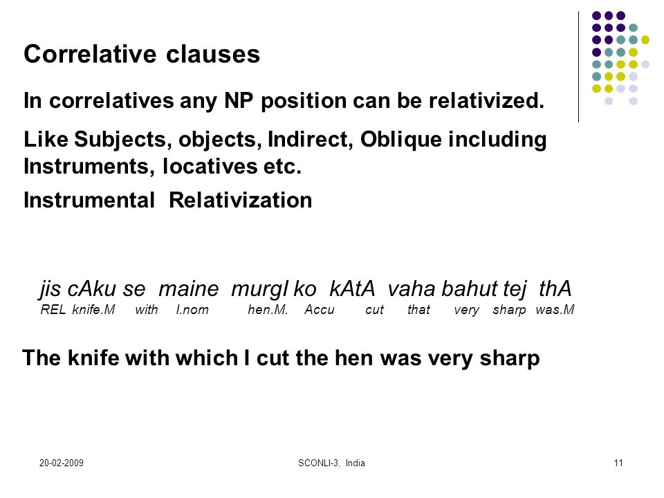 Correlative clauses In correlatives any NP position can be relativized. Like Subjects, objects, Indirect, Oblique including.
