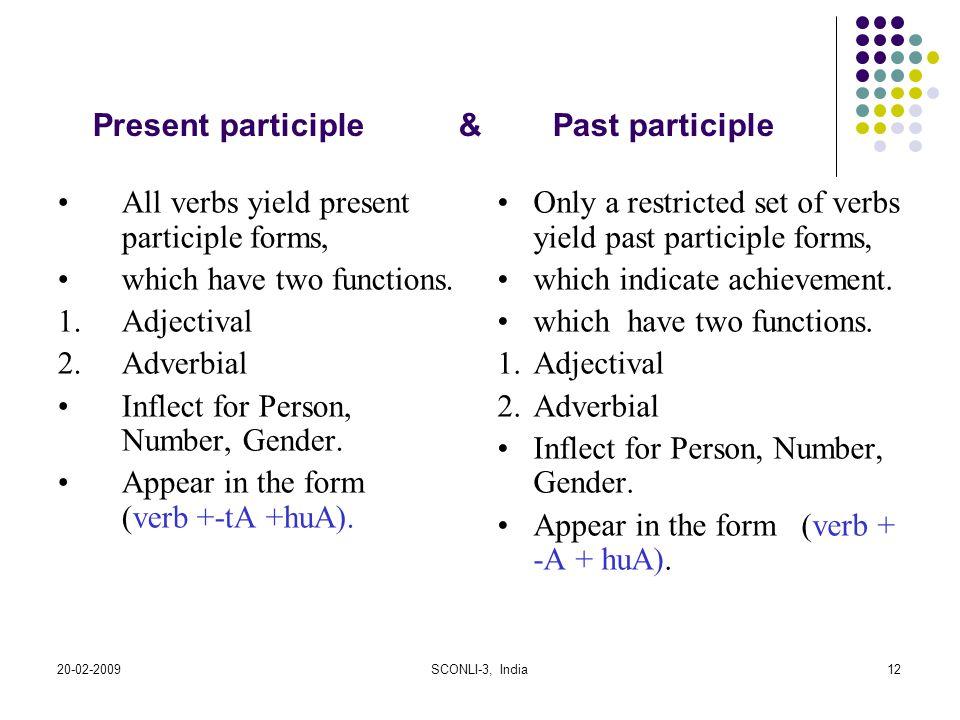 Present participle & Past participle
