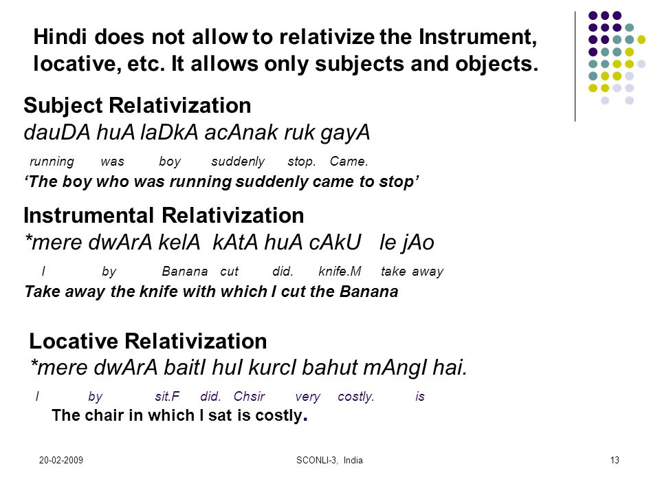 Hindi does not allow to relativize the Instrument,