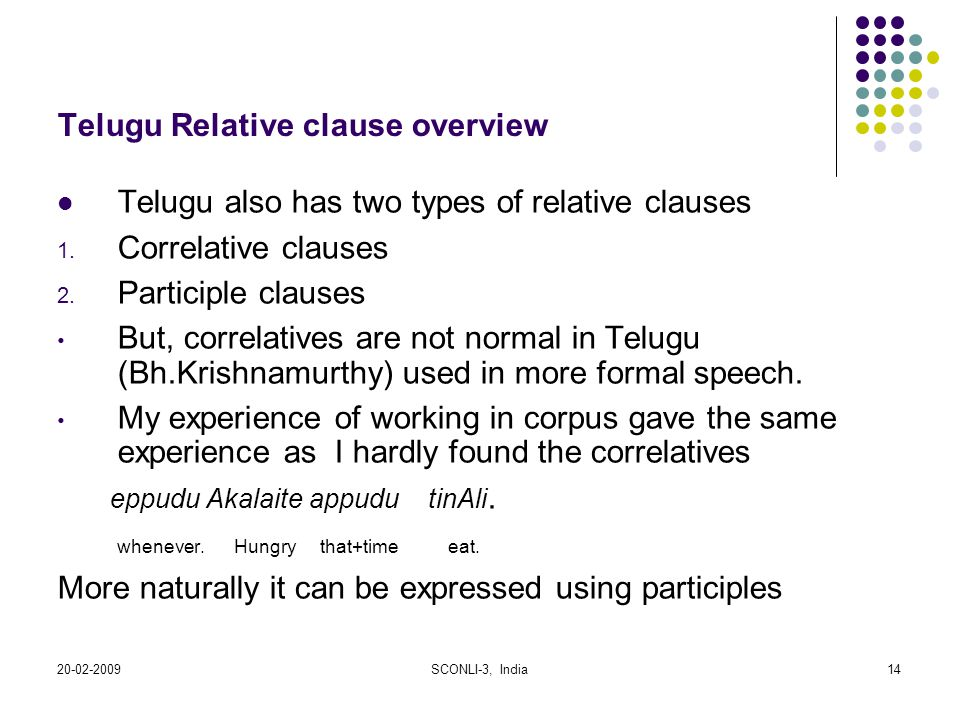Telugu Relative clause overview