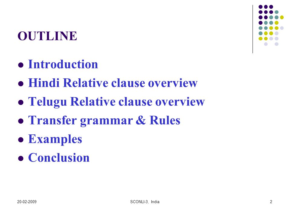 Hindi Relative clause overview Telugu Relative clause overview