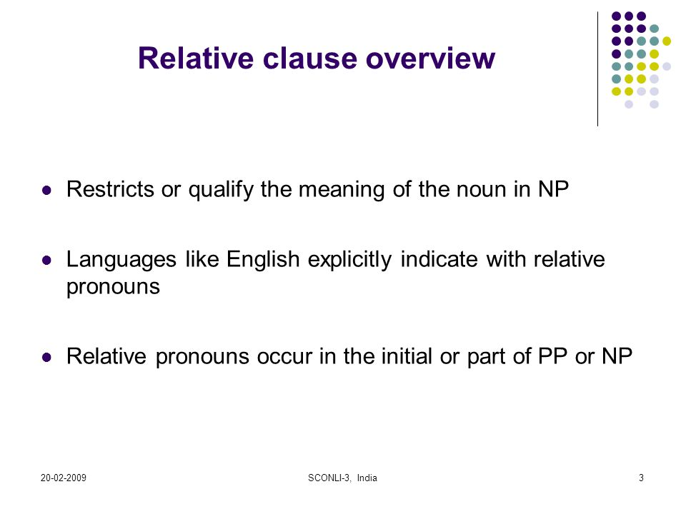Relative clause overview