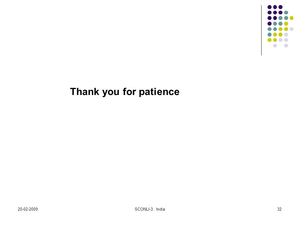 Thank you for patience 20-02-2009 SCONLI-3, India
