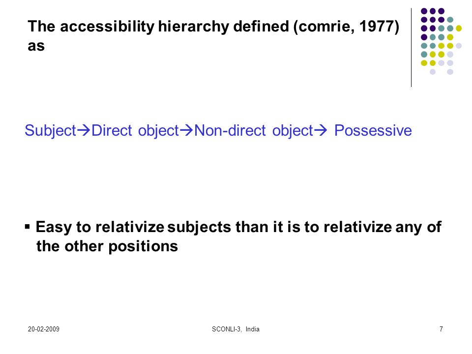 The accessibility hierarchy defined (comrie, 1977) as