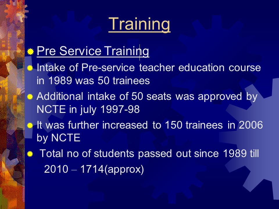 Training Pre Service Training