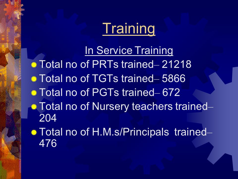 Training In Service Training Total no of PRTs trained– 21218