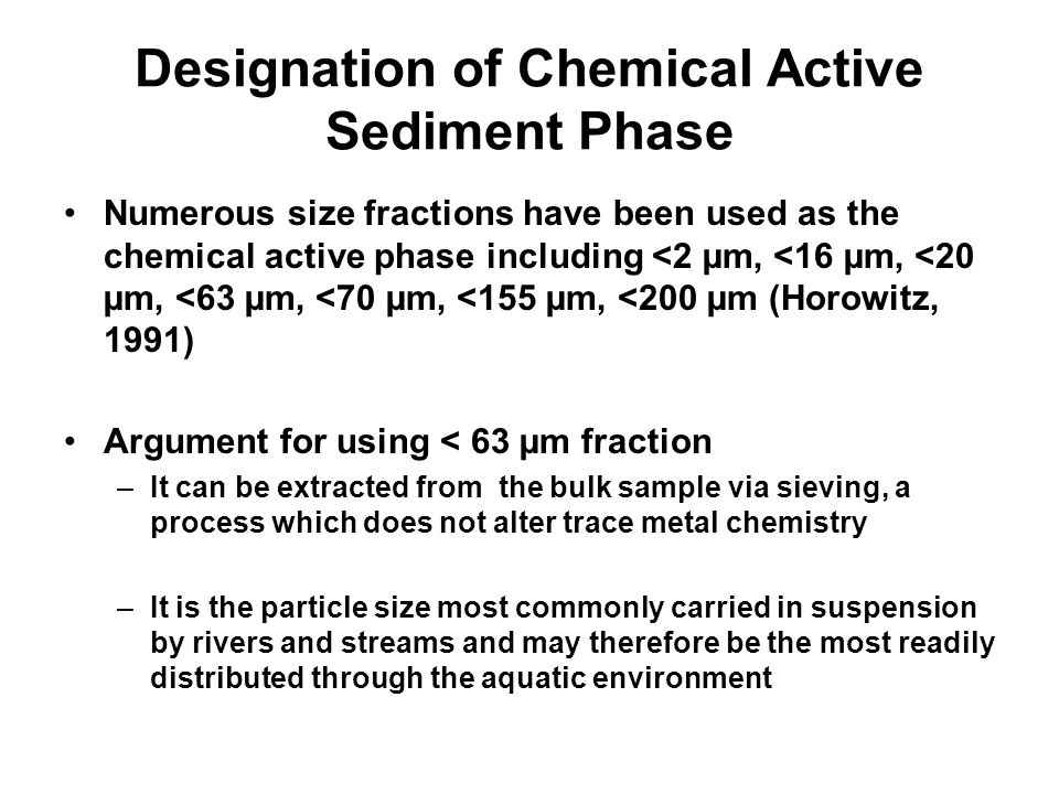 Designation of Chemical Active Sediment Phase