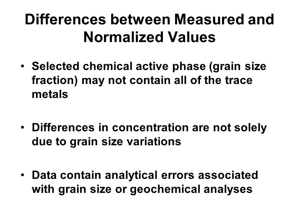 Differences between Measured and Normalized Values