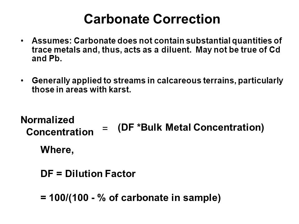 Carbonate Correction Normalized Concentration