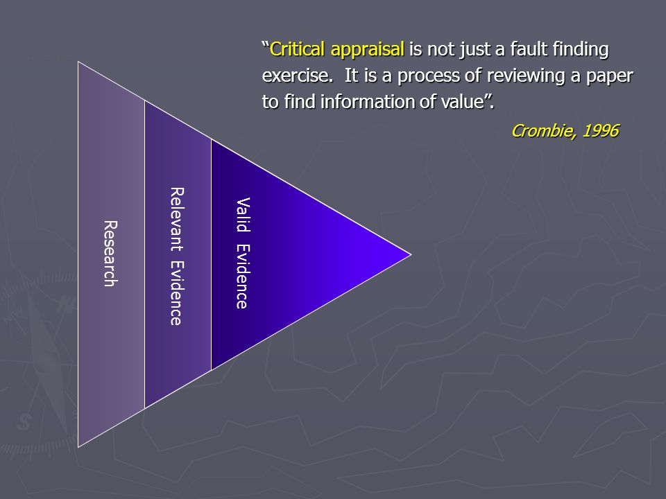 Critical appraisal is not just a fault finding