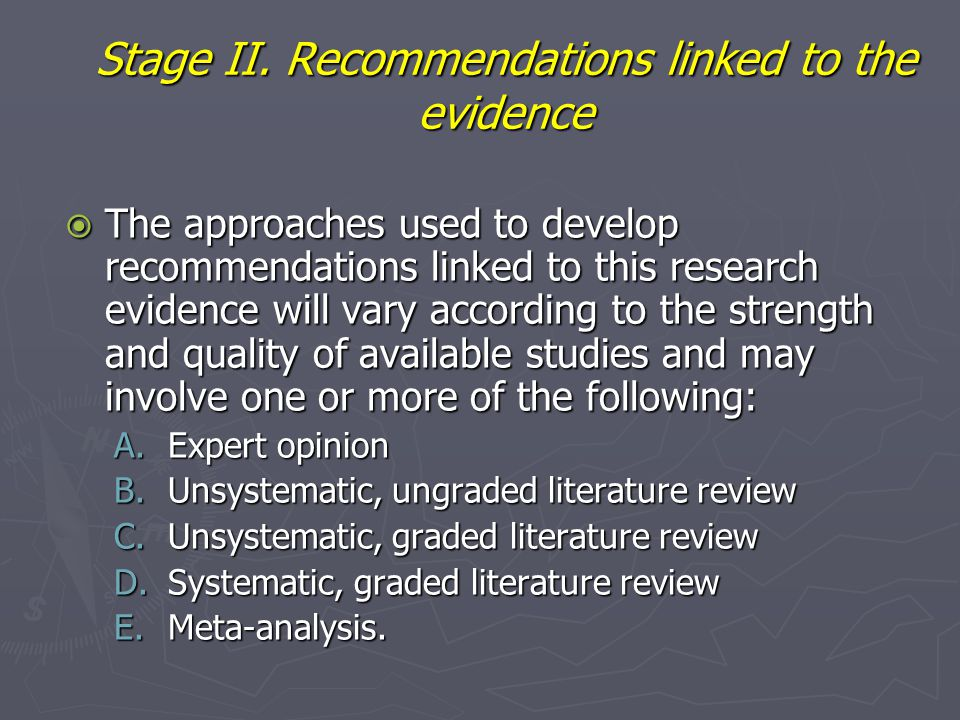 Stage II. Recommendations linked to the evidence