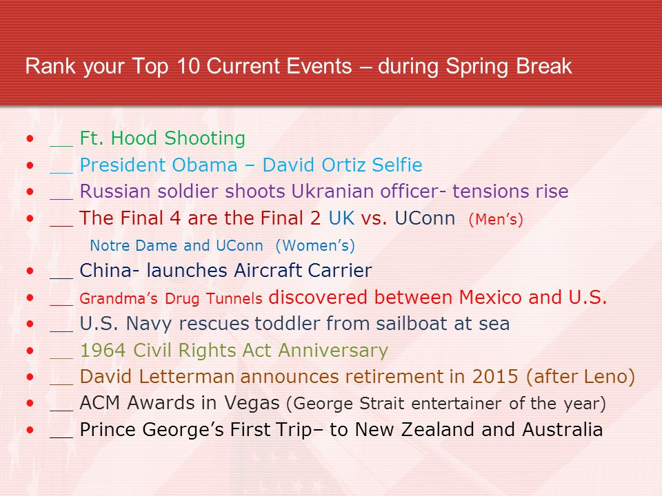 Rank your Top 10 Current Events – during Spring Break
