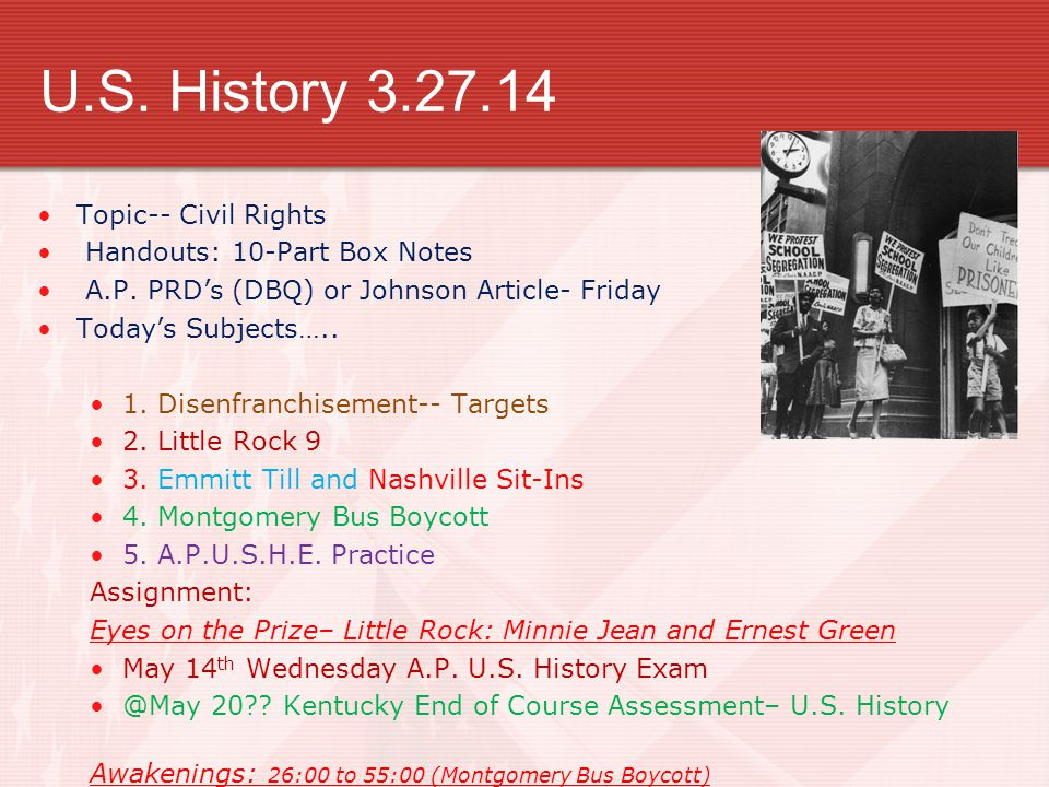 U.S. History 3.27.14 Topic-- Civil Rights Handouts: 10-Part Box Notes