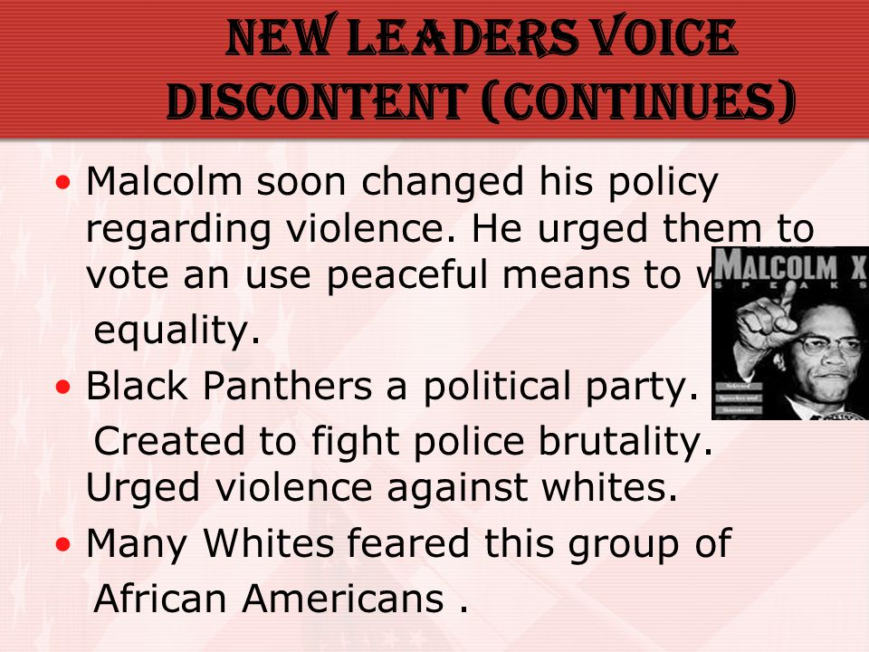 New Leaders voice discontent (Continues)