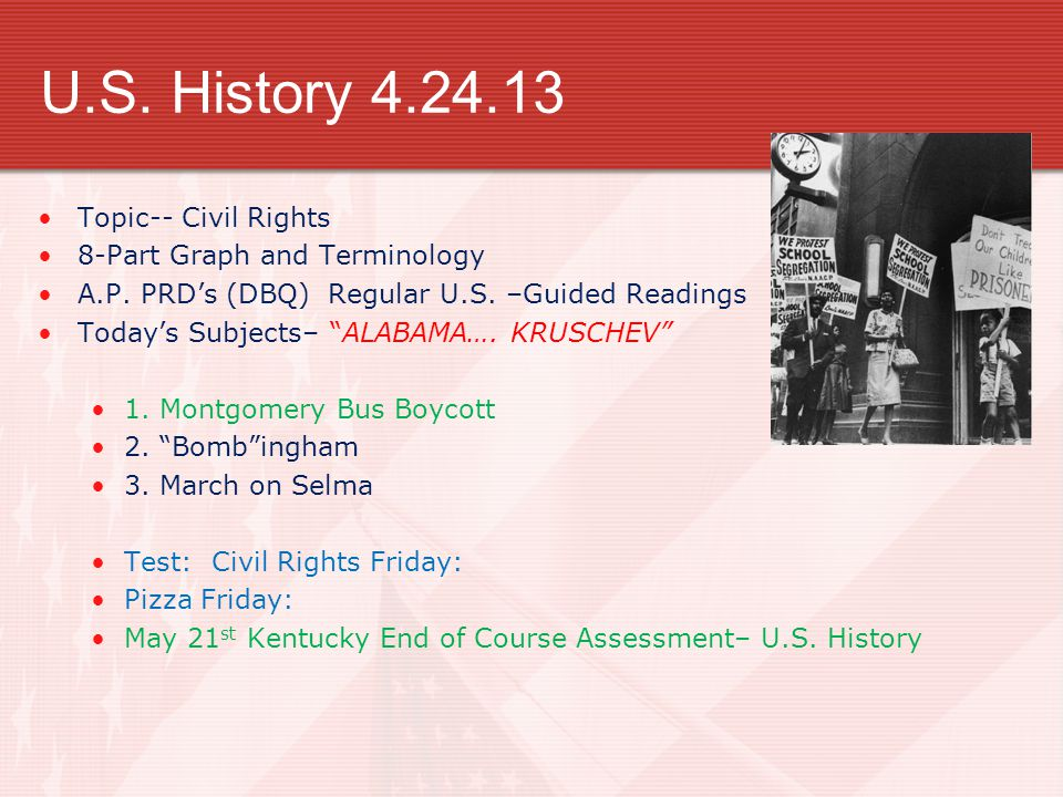 U.S. History 4.24.13 Topic-- Civil Rights 8-Part Graph and Terminology