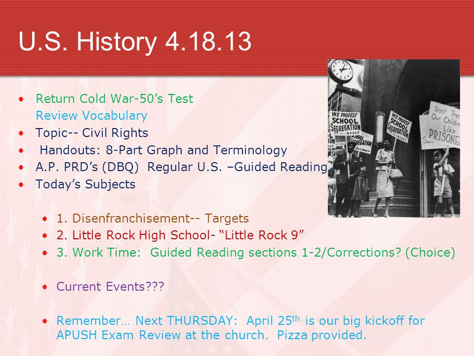 U.S. History 4.18.13 Return Cold War-50's Test Review Vocabulary