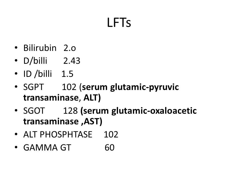 LFTs Bilirubin 2.o D/billi 2.43 ID /billi 1.5