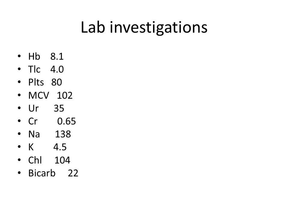 Lab investigations Hb 8.1 Tlc 4.0 Plts 80 MCV 102 Ur 35 Cr 0.65 Na 138