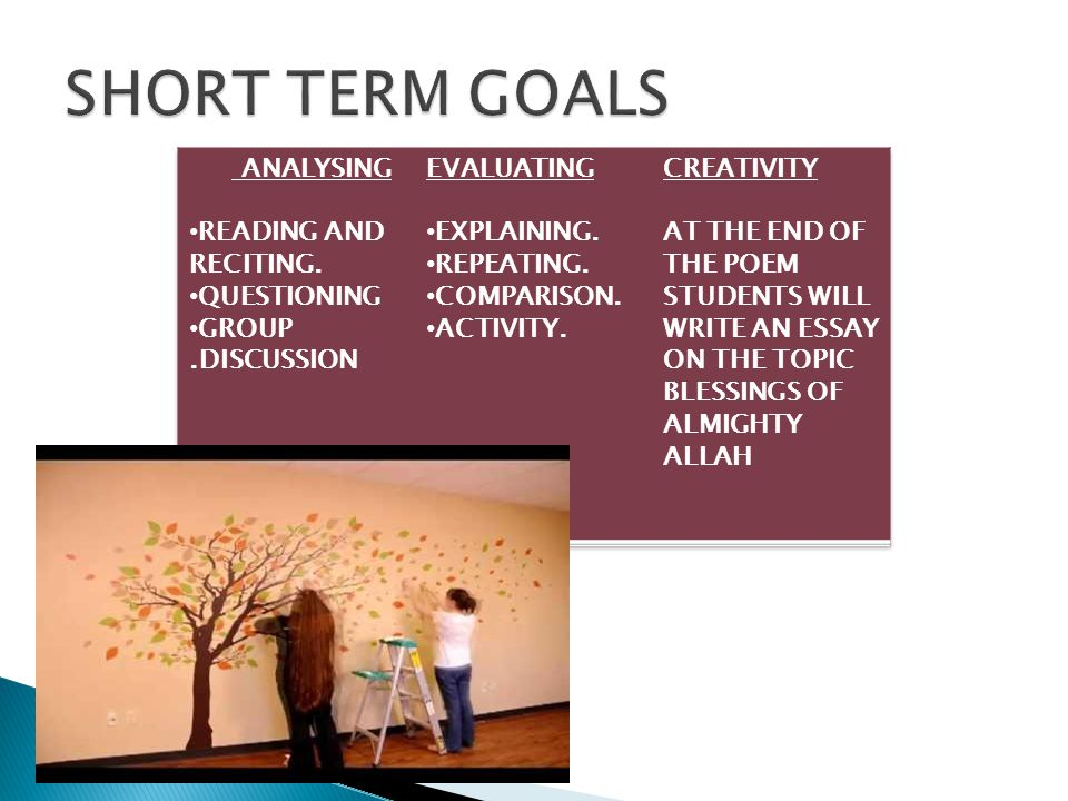 SHORT TERM GOALS ANALYSING READING AND RECITING. QUESTIONING