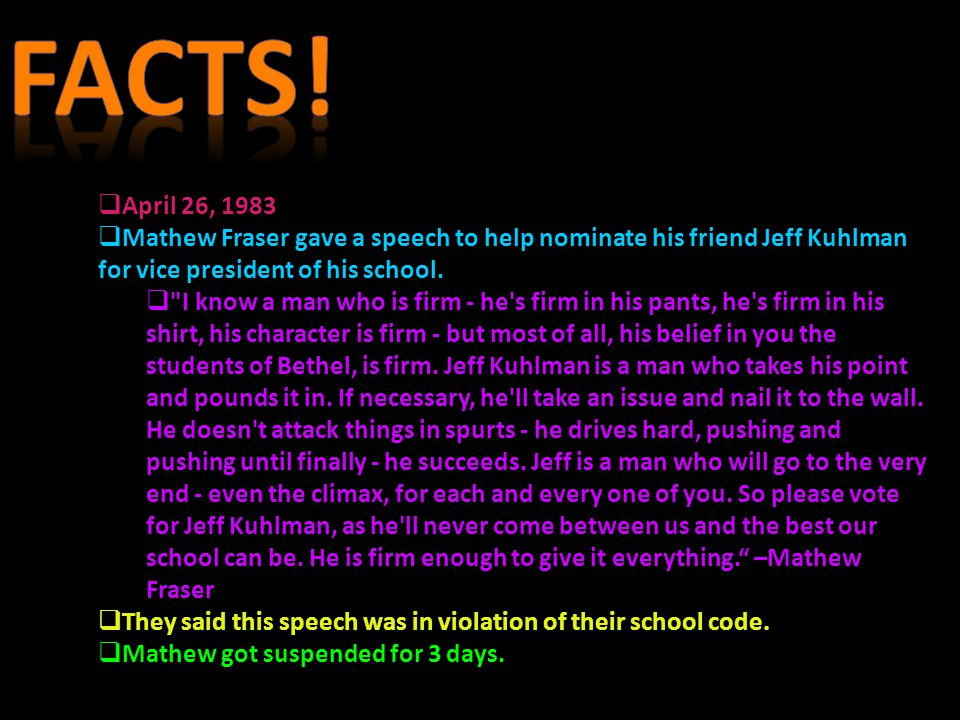 Facts! April 26, 1983. Mathew Fraser gave a speech to help nominate his friend Jeff Kuhlman for vice president of his school.