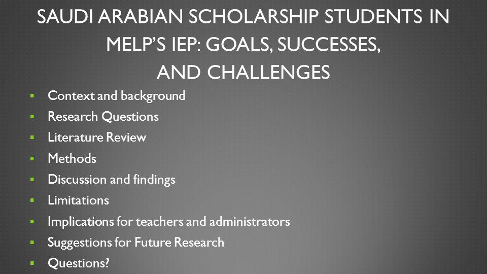 Saudi Arabian Scholarship Students in MELP's IEP: Goals, Successes, and Challenges