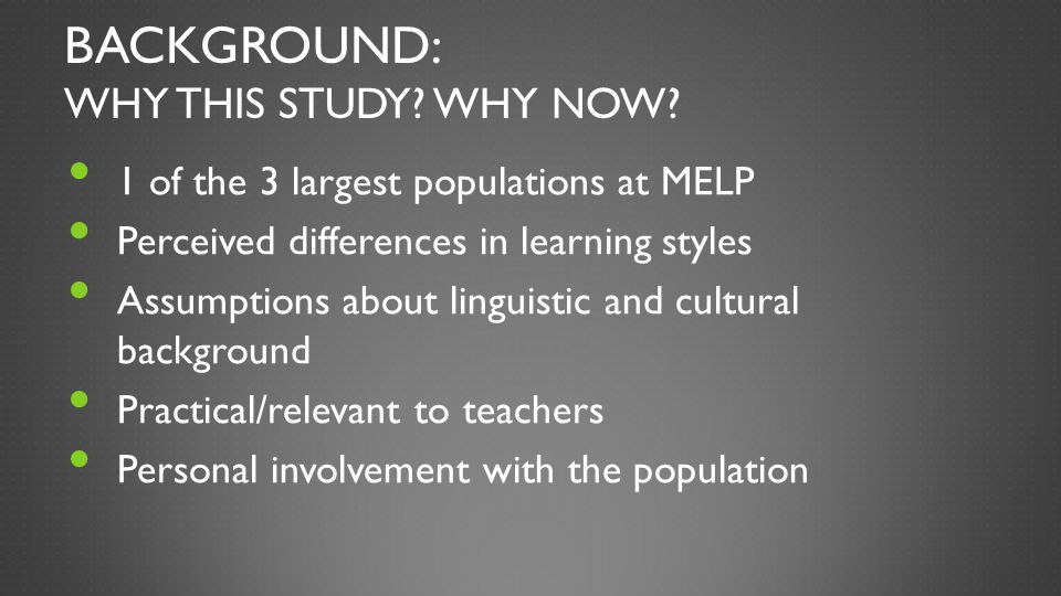 Background: Why this study Why now
