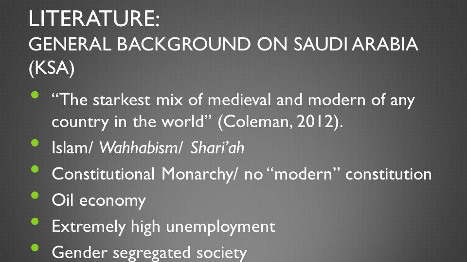 Literature: General Background on Saudi Arabia (KSA)
